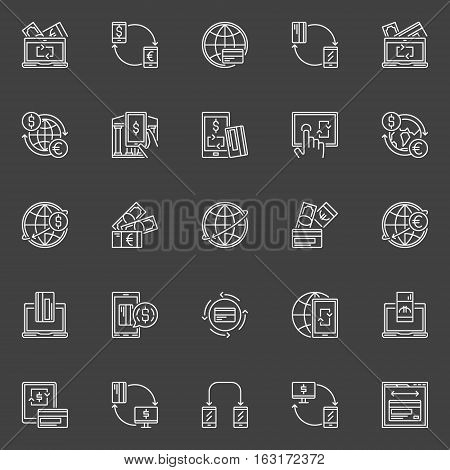 Money transfer line icons. Vector send money online linear signs. Online banking symbols collection on dark background