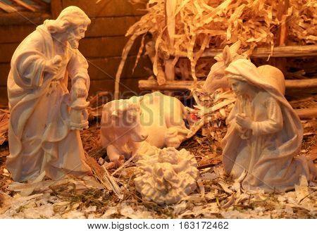 Nativity Scene With St Joseph And The Virgin Mary
