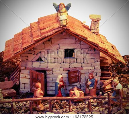 Nativity Scene With Holy Family Is An Old House