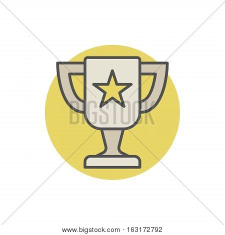 Champion cup colorful icon. Vector flat award concept sign or logo element