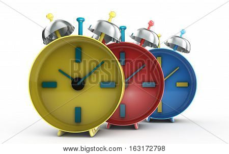 Time passing concept - a lot of alarm clocks 3d render