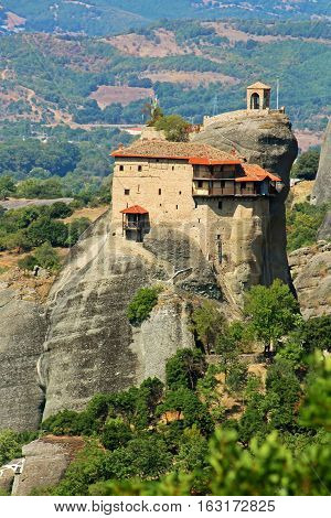 Hanging monastery at Meteora of Kalampaka in Greece