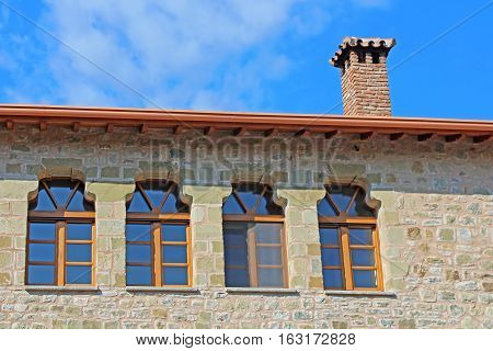The roof and windows of the Monastery of the Holy Trinity (1475), Meteora, Greece
