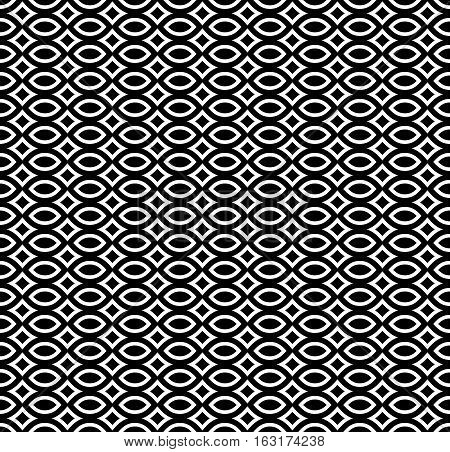 Vector seamless pattern, black & white repeat mosaic texture. Simple monochrome abstract background, geometric figures. Design element for prints, decoration, textile, fabric, digital, web, package