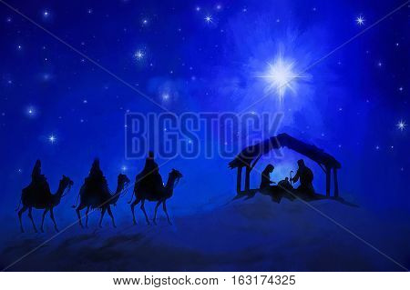 Christmas night in Bethlehem when Jesus was  born