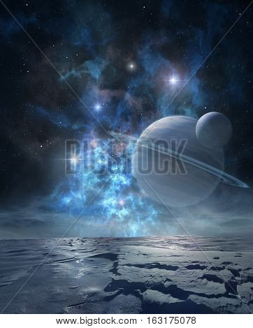 Extraterrestrial landscape of distant icy planet with majestic nebula and ringed gas giant on its sky