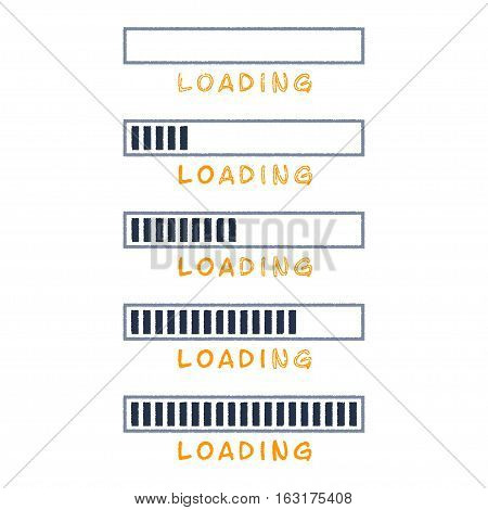 Vector colored loading bar set. Progress bar on white background.