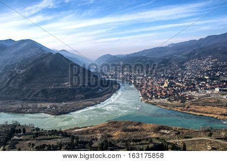 View from the Jvari monastery on the Mtskheta at the confluence of the Mtkvari and Aragvi rivers