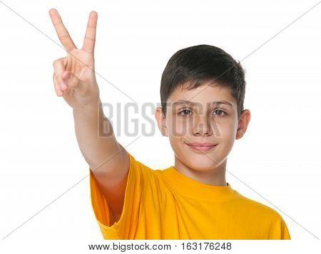 Preteen Boy Celebrates Victory