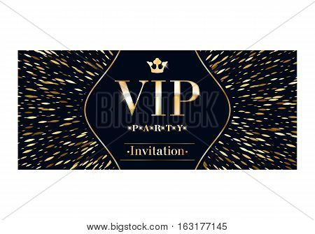 VIP club party premium invitation card poster flyer. Black and golden burst design template. Sharp oval sequins pattern decorative vector background.