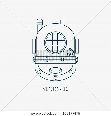 Line flat vector blue marine icon with nautical design elements - retro diving helmet. Cartoon style. Illustration , element for your design. Sea adventures. Ocean. Frogman. Aqualung. Abyssal. Naval.