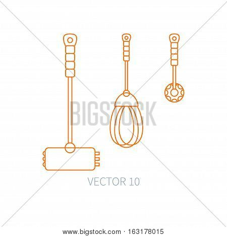 Line flat vector kitchenware icons - hammer, corolla, mixer. Cutlery tools. Cartoon style. Illustration, element for your design. Equipment for food preparation. Kitchen. Household. Cooking. Cook.
