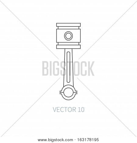Line flat vector icon car repair part - piston. Internal combustion engine elements. Industrial. Cartoon style. Illustration, element for your design. Simple. Monochrome. Auto service. Maintenance.