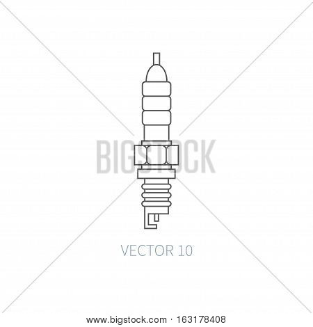 Line flat vector icon car repair part - sparking-plug. Internal combustion engine elements. Industrial. Cartoon style. Illustration, element for design. Simple. Monochrome. Auto service. Maintenance.