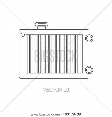 Line flat vector icon car repair part radiator. Internal combustion engine elements. Industrial. Cartoon style. Illustration, element for your design. Simple. Monochrome. Auto service. Maintenance.