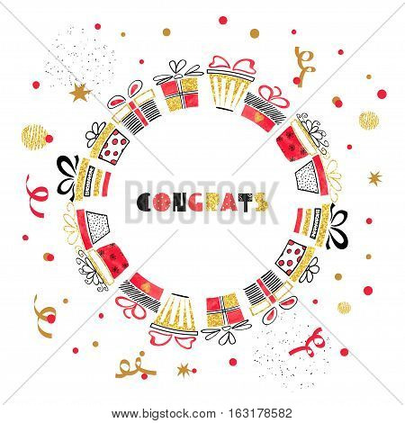 Birthday round card design with red and golden gift boxes. Vector celebration background.