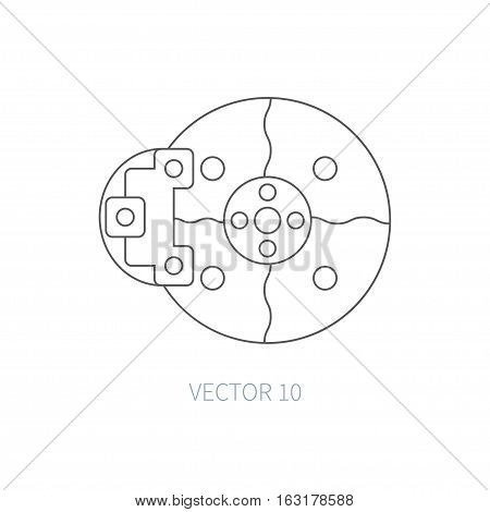 Line flat vector icon car repair part - brake. Internal combustion engine elements. Industrial. Cartoon style. Illustration, element for your design. Monochrome. Auto service. Maintenance.
