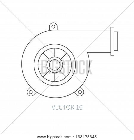 Line flat vector icon car repair part - turbine. Internal combustion engine elements. Industrial. Cartoon style. Illustration, element for your design. Monochrome. Auto service. Maintenance. Power.