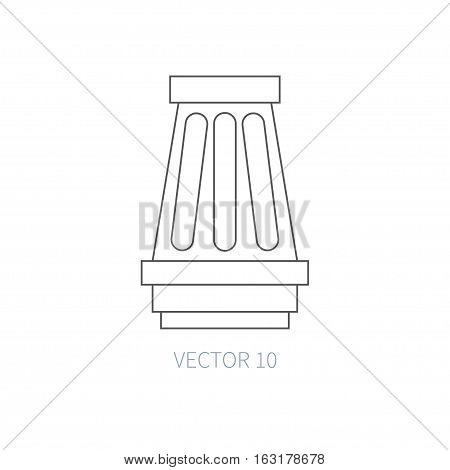 Line flat vector icon car repair part - air filter. Internal combustion engine elements. Industrial. Cartoon style. Illustration, element for your design. Monochrome. Auto service. Maintenance.