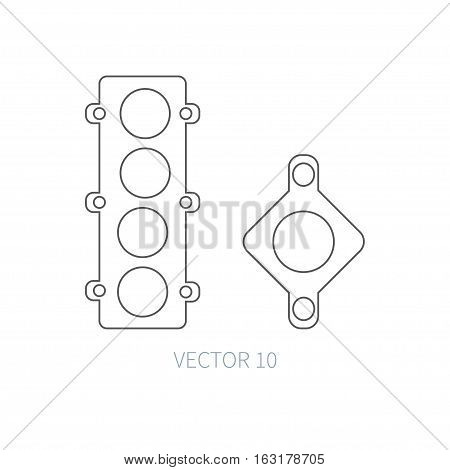 Line flat vector icon car repair part - gasket. Internal combustion engine elements. Industrial. Cartoon style. Illustration, element for your design. Monochrome. Auto service. Maintenance.