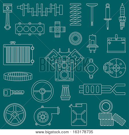 Line flat vector icon car parts set with undercarriage end internal combustion engine elements. Industrial. Cartoon style. Illustration, element for your design. Monochrome. Auto service. Maintenance.