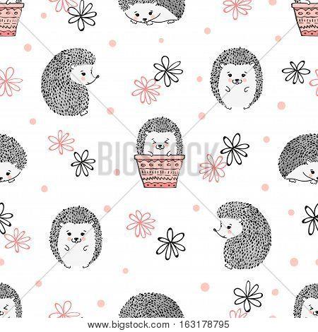 Cute cartoon hedgehogs seamless pattern. Vector kids background.
