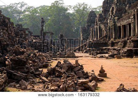 Classical picture of Ta Prohm Temple Angkor Cambodia