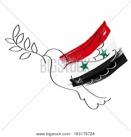 Dove and flag of Syria vector illustration. Peace for Syria symbol. Paint brush texture.
