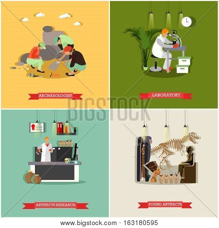 Vector set of posters, banners with archaeologists at work, tools and equipment. Archaeological laboratory, artifact research, excavation, found artifacts concept design elements in flat style.