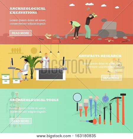 Vector set of banners with archaeologists, scientists, tools and equipment. Archaeological excavation, artifacts research concept design elements in flat style.