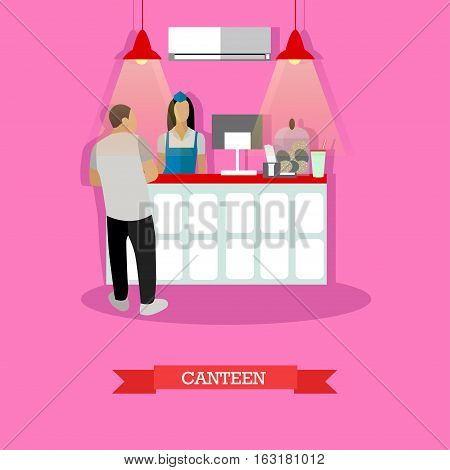 Vector illustration of canteen interior in flat style. Canteen design element with woman serving visitor man.