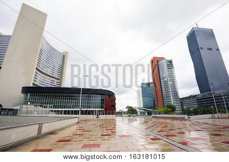 View on financial district with onu buildings and business centres in vienna, austria