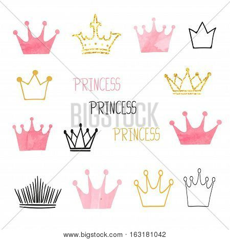 Set of doodle sketch crowns for your design. Vector illustration.