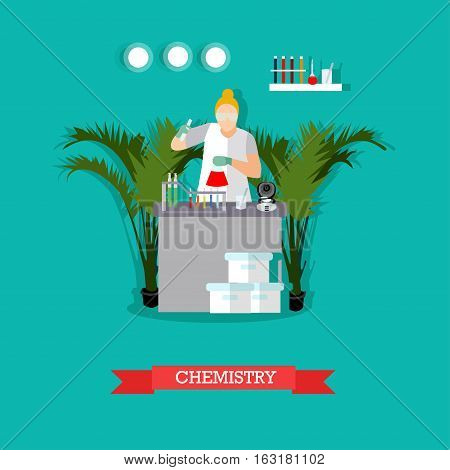 Chemical laboratory concept vector illustration in flat style. Chemist woman in protective clothes, glasses and gloves is testing chemical elements. Laboratory interior and glassware.