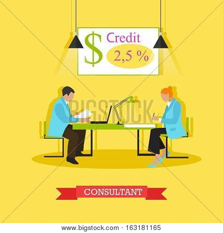 Vector illustration of consultant advising customer about bank products and operations. Signing agreement. Finance and banking concept design element in flat style