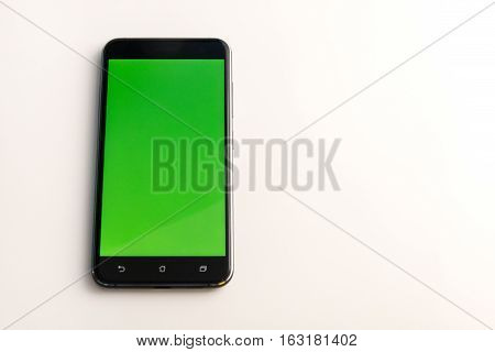 Smart Phone With Green Screen Isolated On White
