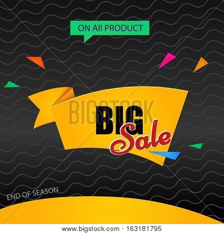 Big sale vector. Banner template discounts on a dark background. text illustration - Big sale on all product.