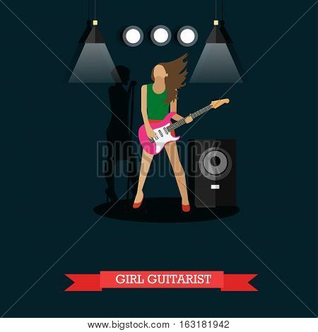 Girl Guitarist, vector illustration in flat style. Young woman playing electric guitar on stage, string musical instrument.