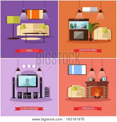 Vector set of posters, banners with home interior design elements in flat style. Place to rest, hall, home theatre and fireplace.