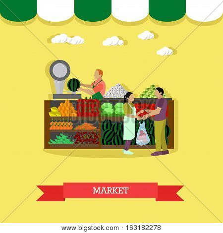 Vector illustration of market greengrocery design element in flat style. People selling and buying fruit and vegetables.