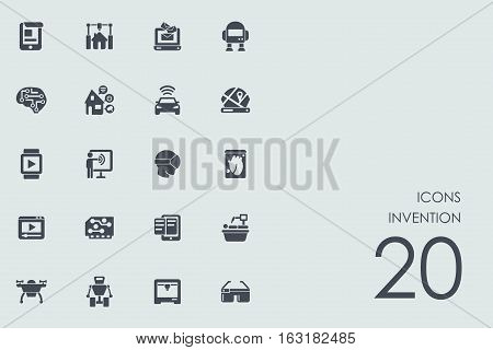 invention vector set of modern simple icons