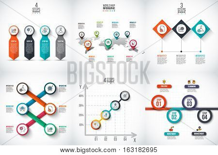 Business data visualization. Process chart. Abstract elements of graph, diagram with 3, 4, 5, 6 and 7 steps, options, parts or processes. Vector business template for presentation. Creative concept for infographic.