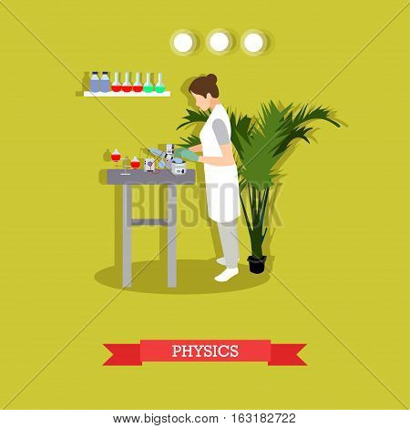 Physics research concept vector illustration in flat style. Physicist woman carrying out experiment. laboratory interior, glassware and equipment.