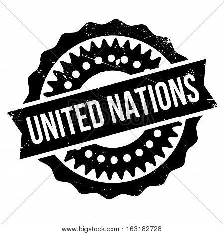 United Nations stamp. Grunge design with dust scratches. Effects can be easily removed for a clean, crisp look. Color is easily changed.