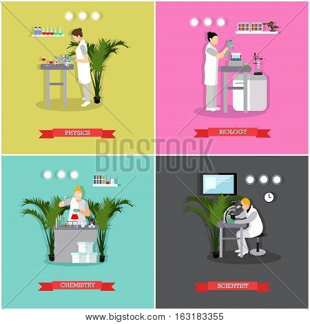 Vector set of banners, posters with different kinds of laboratories and people working there - biologists, chemists, physicists. Scientific research laboratory concept design elements in flat style.