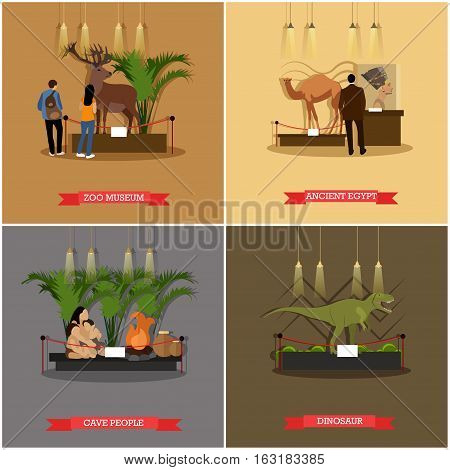 Vector set of posters, banners with museum expositions design elements in flat style. Exhibits of cave people, Nefertiti bust, stuffed wild and extinct animals.