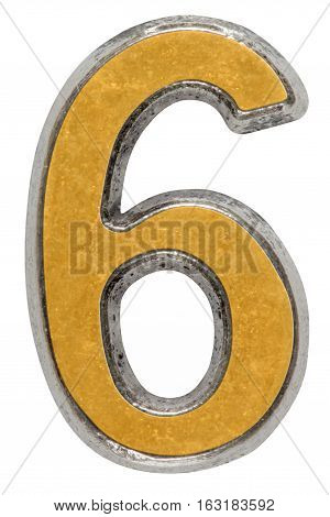 Metal numeral 6 six isolated on white background