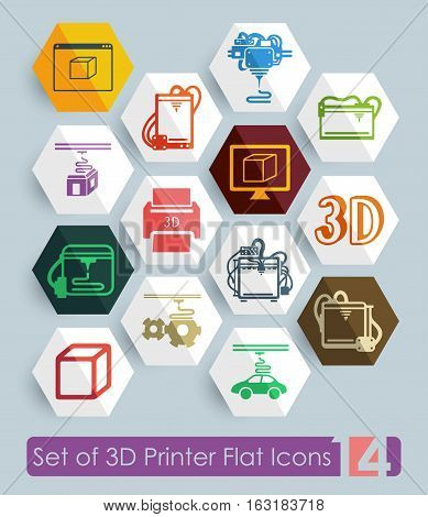Set of three d printer flat icons for Web and Mobile Applications
