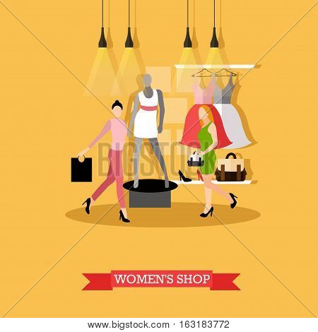 Vector illustration of womens shop in flat style. Women shopping, mannequin in casual summer clothes, dresses on hangers. Fashion clothing store, boutique interior.