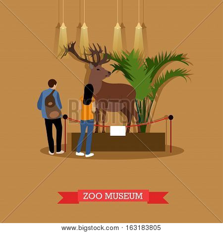 Vector illustration of stuffed deer in zoological museum. Visitors young man and woman watching exhibition of stuffed animals in zoo museum. Exposition room interior design element in flat style.